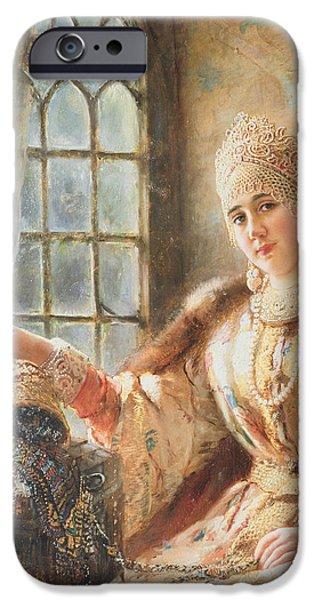 Orthodox Paintings iPhone Cases - Boyars Wife at the Window iPhone Case by Konstantin Egorovich Makovsky
