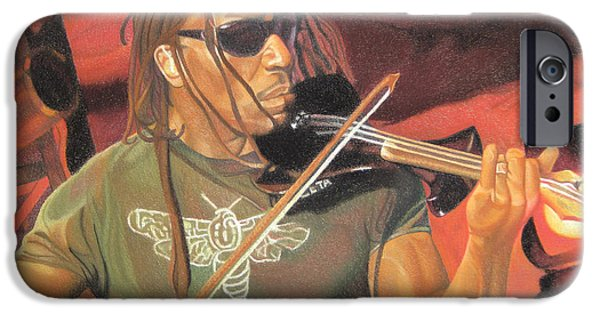 Player Drawings iPhone Cases - Boyd Tinsley at Red Rocks iPhone Case by Joshua Morton