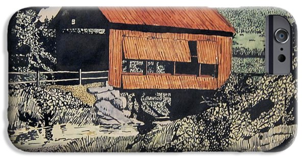 Covered Bridge Mixed Media iPhone Cases - Boys and Covered Bridge iPhone Case by Joseph Juvenal