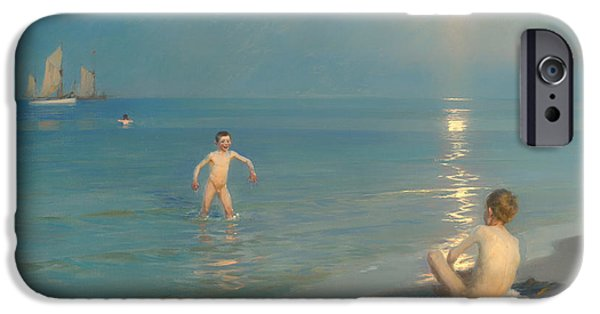 Sea Moon Full Moon Paintings iPhone Cases - Boys Bathing at Skagen iPhone Case by PS Kroyer