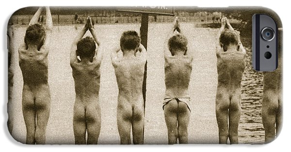 Beach iPhone Cases - Boys Bathing in the Park Clapham iPhone Case by English Photographer