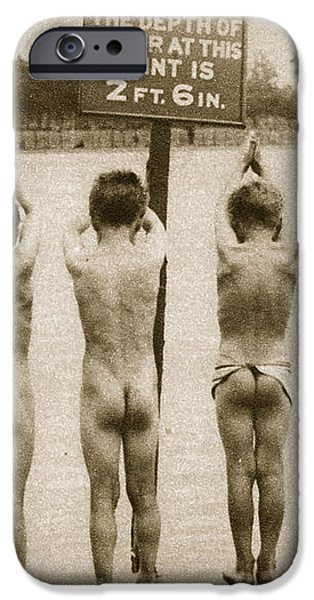 Boys Bathing in the Park Clapham iPhone Case by English Photographer