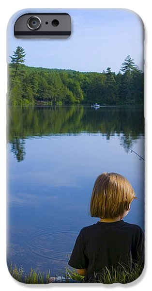 Boys Fishing iPhone Case by Diane Diederich