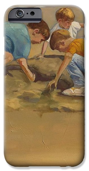 Boys in the Sand iPhone Case by Sue  Darius