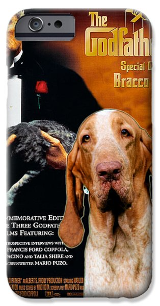 The Godfather Paintings iPhone Cases - Bracco Italiano Art Canvas Print - The Godfather Movie Poster iPhone Case by Sandra Sij