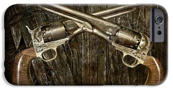 Police Art iPhone Cases - Brace of Colt Navy Revolvers iPhone Case by Randall Nyhof