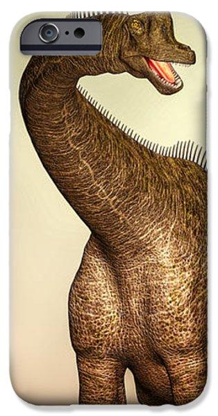 Bob Orsillo Digital Art iPhone Cases - Brachiosaurus Dinosaur iPhone Case by Bob Orsillo