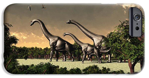 Triassic iPhone Cases - Brachiosaurus Walk iPhone Case by Corey Ford