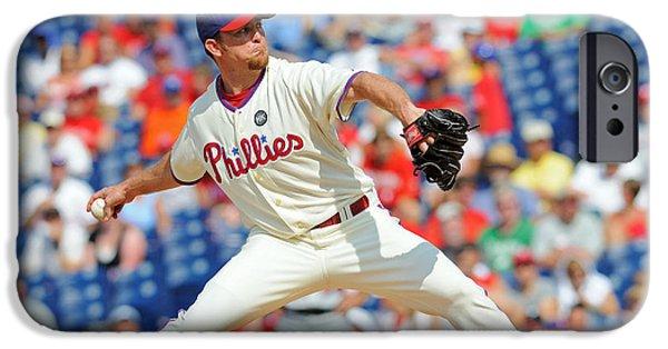 Baseball Uniform Mixed Media iPhone Cases - Brad Lidge iPhone Case by Dt