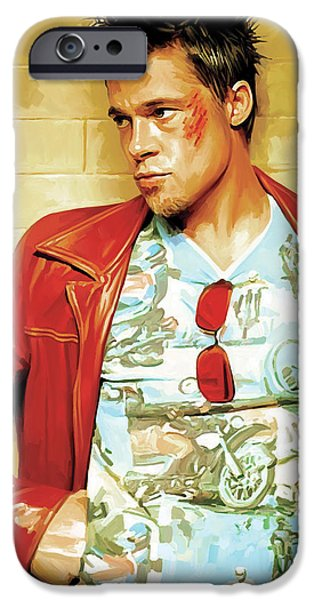 Celebrities Art iPhone Cases - Brad Pitt Artwork iPhone Case by Sheraz A