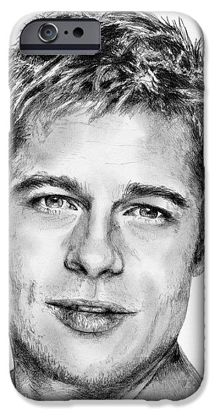 Celebrities Art iPhone Cases - Brad Pitt in 2006 iPhone Case by J McCombie