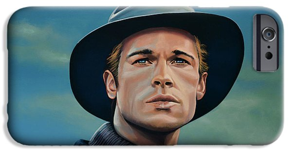 Celebrities Art iPhone Cases - Brad Pitt iPhone Case by Paul  Meijering