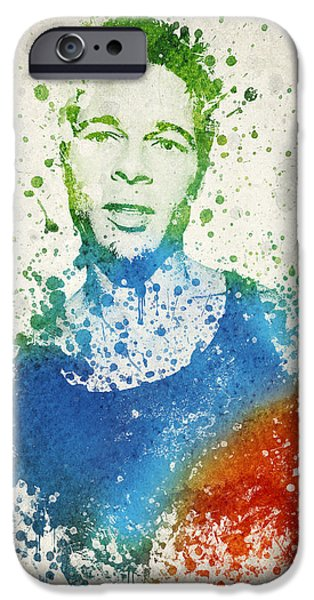 Celebrities Mixed Media iPhone Cases - Brad Pitt Portrait iPhone Case by Aged Pixel