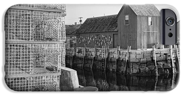 Scenic iPhone Cases - Bradley Wharf Motif #1 BW iPhone Case by Susan Candelario