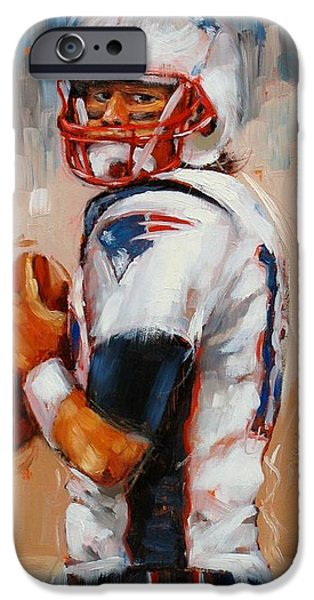 Tom Brady iPhone Cases - Brady Boy iPhone Case by Laura Lee Zanghetti