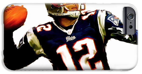New England iPhone Cases - Brady III Tom Brady  iPhone Case by Iconic Images Art Gallery David Pucciarelli