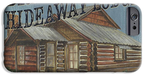 Graphic Design Paintings iPhone Cases - Bradys Hideaway iPhone Case by Debbie DeWitt