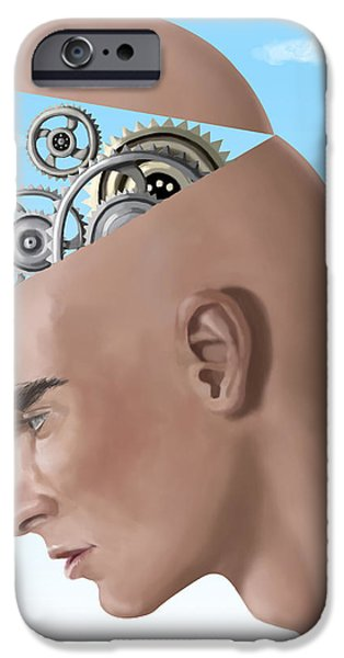 Thinking iPhone Cases - Brain Cogs iPhone Case by Spencer Sutton