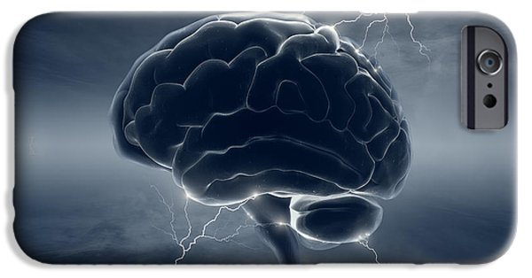 Consciousness iPhone Cases - Brain in stormy clouds - conceptual brainstorm iPhone Case by Johan Swanepoel