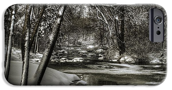 Winter Storm iPhone Cases - Brainards Bridge After a Snow Storm 4 iPhone Case by Thomas Young