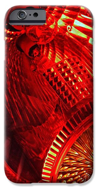 Red Abstract iPhone Cases - Brake Light 42 iPhone Case by Sarah Loft