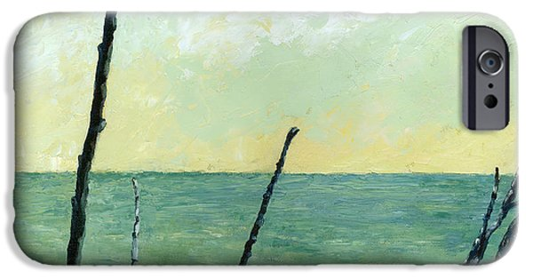 Chicago Paintings iPhone Cases - Branches on the Beach - Oil iPhone Case by Michelle Calkins