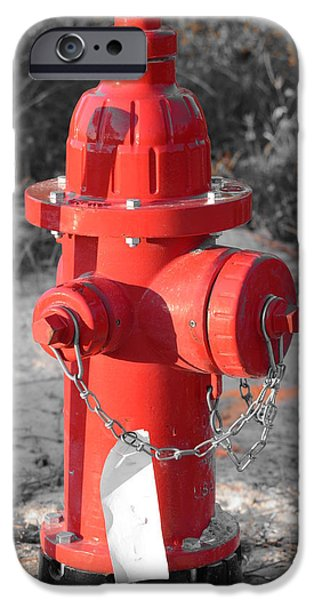 Brand New Red Hydrant on BW iPhone Case by Jeff at JSJ Photography
