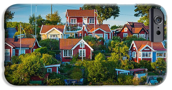 Scandinavia iPhone Cases - Brandaholm Cottages iPhone Case by Inge Johnsson