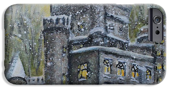 Snowy Day iPhone Cases - Brandeis University Castle iPhone Case by Rita Brown