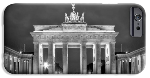 Berlin iPhone Cases - Brandenburg Gate BERLIN black and white iPhone Case by Melanie Viola