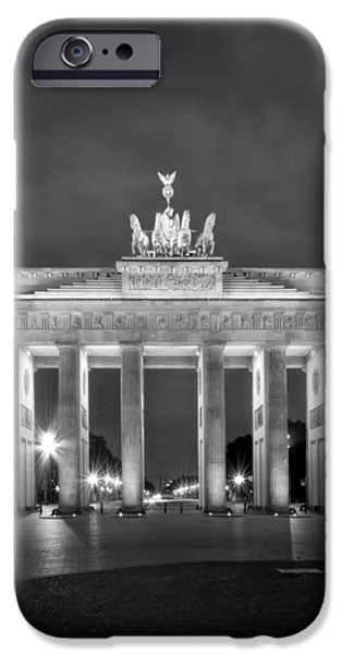 Facade iPhone Cases - Brandenburg Gate BERLIN black and white iPhone Case by Melanie Viola