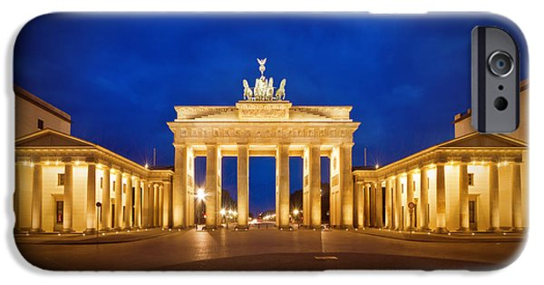 Night Lamp iPhone Cases - Brandenburg Gate iPhone Case by Melanie Viola