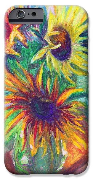 July Paintings iPhone Cases - Brandys Sunflowers - still life on windowsill iPhone Case by Talya Johnson