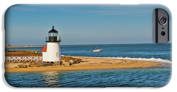 New England Lighthouse iPhone Cases - Brant Point Lighthouse Nantucket iPhone Case by Marianne Campolongo