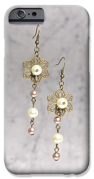 White Jewelry iPhone Cases - Brass Flower and Pearl Earrings iPhone Case by Kimberly Johnson