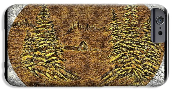 Snowy Day Mixed Media iPhone Cases - Brass-type Etching - Oval - Cabin Between the Trees iPhone Case by Barbara Griffin