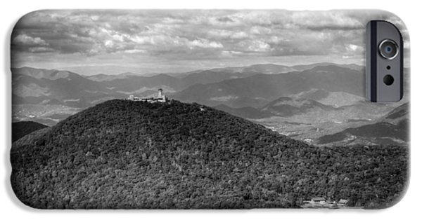 Chrystal iPhone Cases - Brasstown Bald in Black and White iPhone Case by Chrystal Mimbs