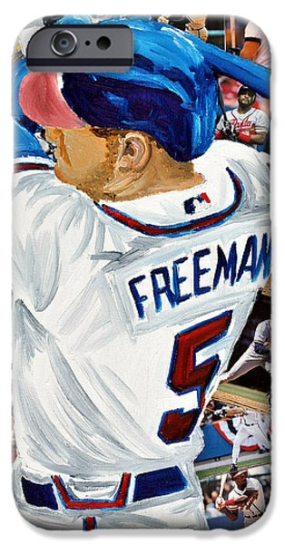 Brave Mixed Media iPhone Cases - Braves Freeman iPhone Case by Michael Lee