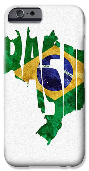 Original Watercolor iPhone Cases - Brazil Typographic Map Flag iPhone Case by Ayse Deniz