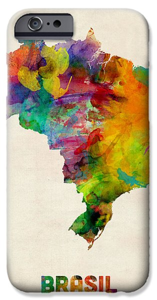 Brasil iPhone Cases - Brazil Watercolor Map iPhone Case by Michael Tompsett