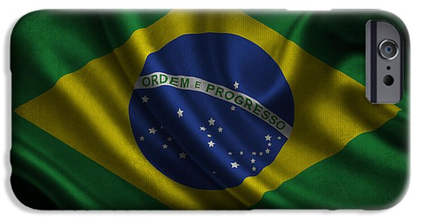Waving Flag Mixed Media iPhone Cases - Brazilian flag waving on canvas iPhone Case by Eti Reid