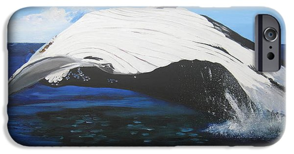 Catherine White Paintings iPhone Cases - Breaching Whale iPhone Case by Cathy Jacobs
