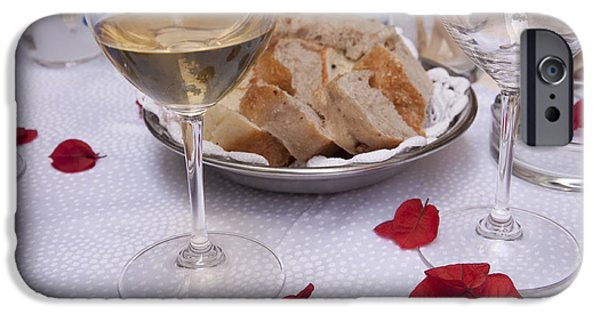 Table Wine iPhone Cases - Bread and Wine Italian Restaurant iPhone Case by Antique Images