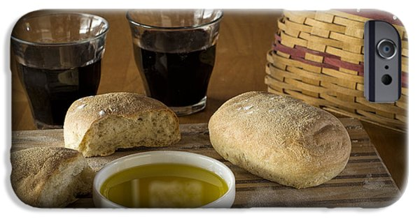 Table Wine iPhone Cases - Bread Wine and Basket iPhone Case by Wayne Meyer