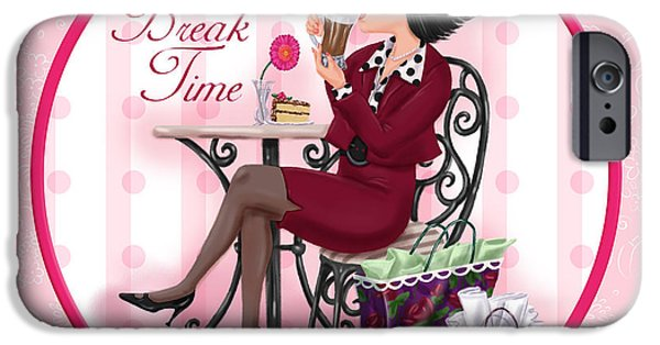Lady Mixed Media iPhone Cases - Break Time iPhone Case by Shari Warren