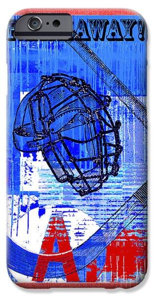 Juvenile Wall Decor iPhone Cases - Breakaway Hockey Print Red Blue iPhone Case by Artyzen Kids