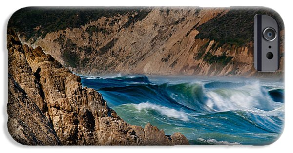 Bill Gallagher iPhone Cases - Breakers at Pt Reyes iPhone Case by Bill Gallagher