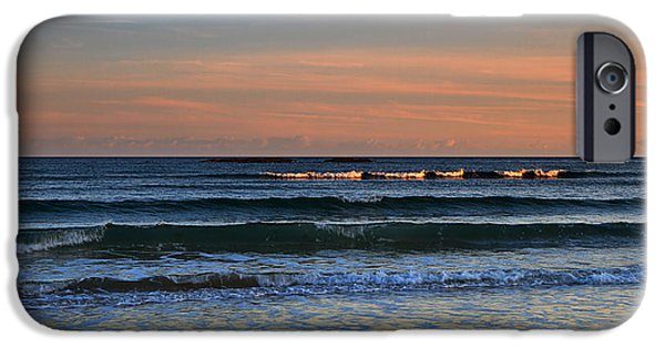 Incoming Tide iPhone Cases - Breakers at Sunset iPhone Case by Louise Heusinkveld