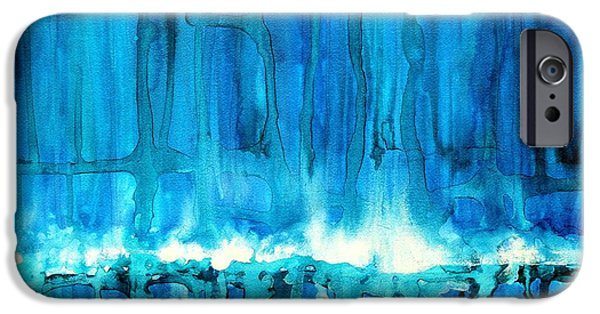 Printmaking iPhone Cases - Breakers off Point Reyes original painting iPhone Case by Sol Luckman