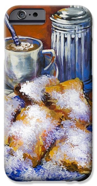 French Quarter Paintings iPhone Cases - Breakfast at Cafe du Monde iPhone Case by Dianne Parks
